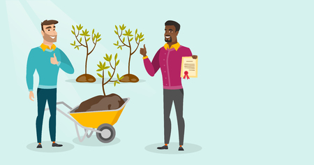 Young caucasian white and african-american men plant tree. Men giving thumb up while standing with wheelbarrow and certificate near newly planted trees. Vector cartoon illustration. Horizontal layout. 矢量图像