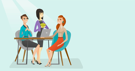 Young multiethnic human resource managers talking with job applicant and offerring good salary. Female job applicant during interview for a position. Vector cartoon illustration. Horizontal layout