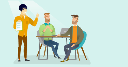 Young multicultural human resource managers talking with caucasian white job applicant and checking curriculum vitae during interview for a position. Vector cartoon illustration. Horizontal layout.