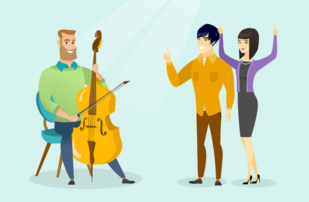 Young caucasian white hipster man sitting on a chair and playing the cello and cheerful asian man and woman giving thumb up and dancing nearby. Vector cartoon illustration. Horizontal layout.