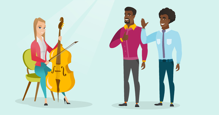 Young caucasian white woman sitting on a chair and playing the cello and cheerful african-american men giving thumb up and waving hand nearby. Vector cartoon illustration. Horizontal layout. 向量圖像