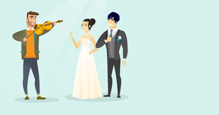 Young caucasian white man playing the violin for asian newlyweds and cheerful bridegroom in a wedding suit and bride in white dress giving thumb up. Vector cartoon illustration. Horizontal layout.
