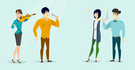 Young caucasian white woman playing the violin and asian man with closed eyes singing to the microphone for happy dancing audience. Vector cartoon illustration. Horizontal layout.