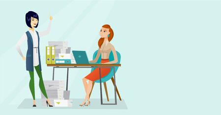 Young angry caucasian white office worker sitting at workplace with a lot of papers and her happy asian colleague standing nearby and pointing finger up. Vector cartoon illustration. Horizontal layout Illustration