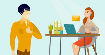 Young asian businessman standing on the background of caucasian white business woman working on a laptop and receiving or sending email. Business technology, email concept. Vector cartoon illustration Illustration