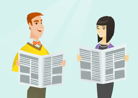 Young caucasian white man and asian woman reading good news in newspapers. Business people standing with newspapers in hands. Media concept. Vector cartoon illustration. Horizontal layout. Illustration