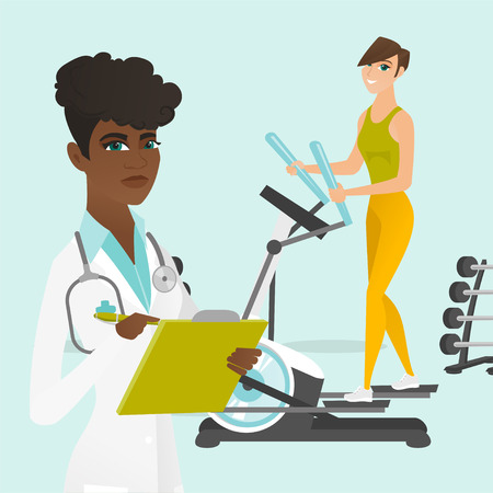 Young caucasian white woman doing exercises on elliptical trainer and african doctor physiotherapist writing medical indicators of sportswoman in a notepad. Vector cartoon illustration. Square layout.