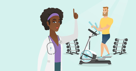 Young caucasian white man doing exercises on elliptical trainer and african doctor pointing finger up because she is impressed by his medical indicators during examination. Vector cartoon illustration