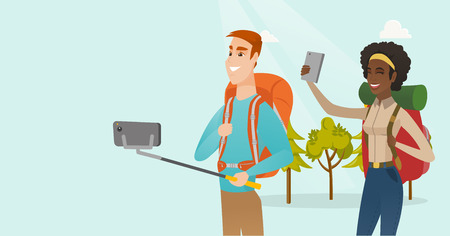 Young multiracial couple of happy travelers making selfie. Smiling caucasian white man and african-american woman with backpacks taking selfie photo with a mobile phone. Vector cartoon illustration. 일러스트