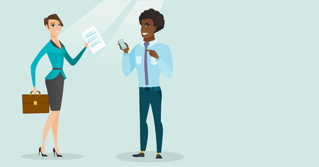 Young caucasian white business woman carrying briefcase and showing document while african-american businessman holding mobile phone and pointing at it. Vector cartoon illustration. Horizontal layout Illustration