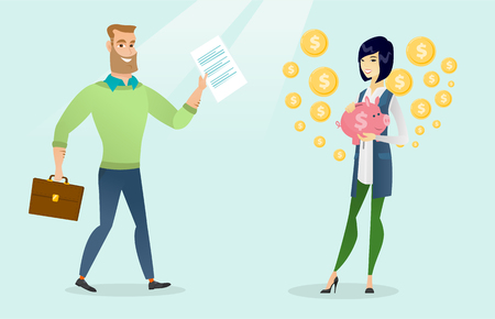 Young caucasian white businessman walking with a briefcase and showing legal document while asian business woman holding a piggy bank with dollar sign. Vector cartoon illustration. Horizontal layout. Ilustração