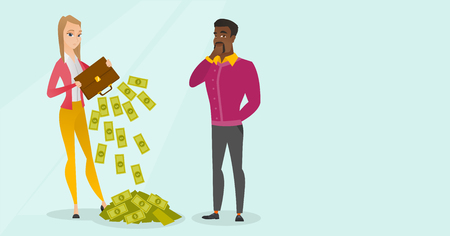 Depressed caucasian white female bankrupt shaking out money from briefcase and young african thinking businessman standing nearby. Concept of bnkruptcy. Vector cartoon illustration. Horizontal layout.