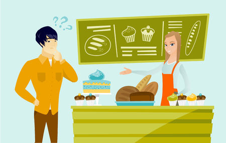Young caucasian white female baker standing behind the counter with cakes and offering pastry to asian thoughtful man. Man choosing sweets at the bakery. Vector cartoon illustration. Horizontal layout