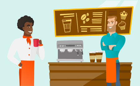 Young caucasian white barista sanding in front of counter at coffee shop while african-american chief-cooker drinking freshly prepared cup of coffee. Vector cartoon illustration. Horizontal layout.