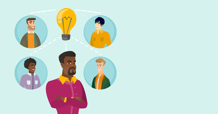 Group of young multiracial businessmen connected by one idea light bulb. African-american, caucasian white and asian business people working on a idea. Vector cartoon illustration. Horizontal layout. 向量圖像