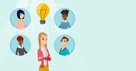Group of young multicultural business women connected by one idea light bulb. African-american, caucasian white business people working on creative idea. Vector cartoon illustration. Horizontal layout