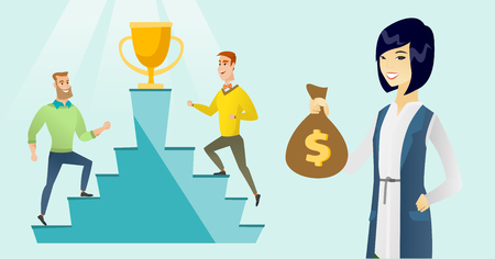 Asian business woman showing money bag on the background of two caucasian white business men competing for the winner cup and money prize. Business competition concept. Vector cartoon illustration.