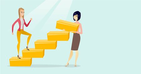 Young caucasian white business woman runs up the career ladder while another woman builds this ladder. Happy business woman climbing the career ladder. Vector cartoon illustration. Horizontal layout.