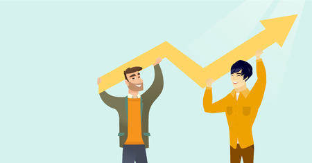 Two young happy caucasain white and asian businessmen holding zigzag arrow indicating business growth graph. Business growth and teamwork concept. Vector cartoon illustration. Horizontal layout.