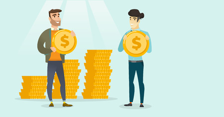 Young successful caucasian white and asian businessmen showing dollar golden coins on the background of stacks of coins. Concept of success in business. Vector cartoon illustration. Horizontal layout.