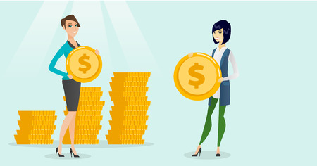 Young successful caucasian white and asian business women showing dollar golden coins on the background of stacks of coins. Business success concept. Vector cartoon illustration. Horizontal layout.