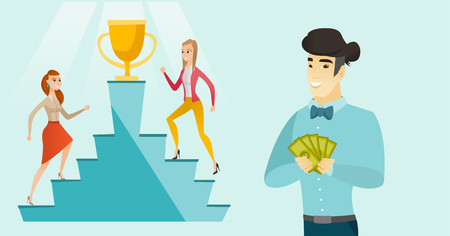 Asian man showing money on the background of caucasian white business women competing for the winner cup and money prize. Business competition concept. Vector cartoon illustration. Horizontal layout.