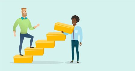 Young caucasian white businessman runs up the career ladder while african-american man builds this ladder. Happy businessman climbing the career ladder. Vector cartoon illustration. Horizontal layout. Illustration