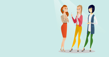 Young caucasian white woman showing something to multiracial friends on her smartphone. Three happy female friends looking at mobile hone and laughing. Vector cartoon illustration. Horizontal layout. Illustration