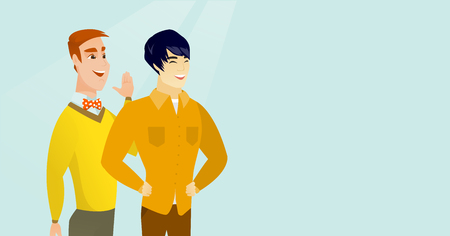 Young caucasian white man shielding his mouth and whispering a gossip to his asian friend. Two happy men sharing gossips. Friends discussing rumors. Vector cartoon illustration. Horizontal layout. Ilustracja