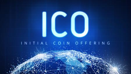 ICO Anfangsmünze, die futuristischen hud Hintergrund mit Weltkarte und blockchain Gleichen anbietet, um Netz zu Gleichen. Globales Kryptowährung ICO-Münzenverkaufsereignis - blockchain Geschäftsfahnenkonzept.