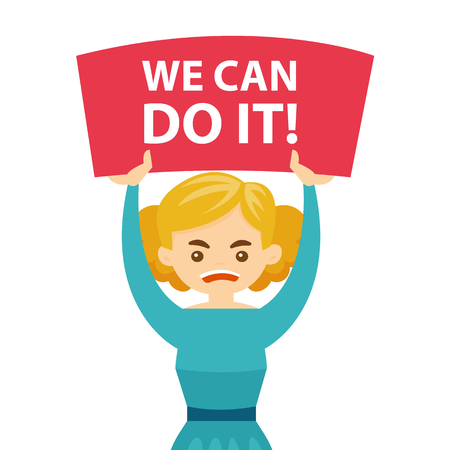Young caucasian white screaming woman holding placard with text we can do it at a feminist protest action. Concept of feminism. Vector cartoon illustration isolated on white background. Square layout.