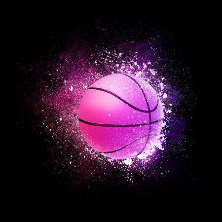 Basketball Ball flying in violet particles isolated on black background. Sport competition concept for basketball tournament poster, placard, card or banner.