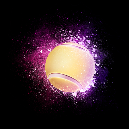 Tennis Ball flying in violet particles isolated on black background. Sport competition concept for tennis tournament poster, placard, card or banner.
