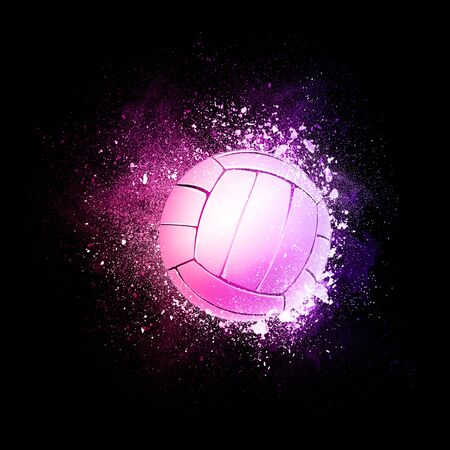 Volleyball Ball flying in violet particles isolated on black background. Sport competition concept for volleyball tournament poster, placard, card or banner. Stock Photo