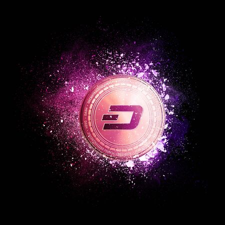 Dash coin symbol flying in violet particles isolated on black background. Global cryptocurrency and ICO initial coin offering business banner concept.