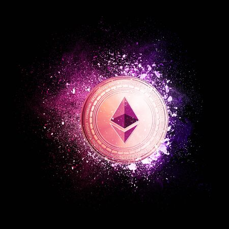 Ethereum coin symbol flying in violet particles isolated on black background. Global cryptocurrency and ICO initial coin offering business banner concept.
