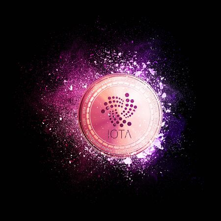 IOTA coin symbol flying in violet particles isolated on black background. Global cryptocurrency and ICO initial coin offering business banner concept.