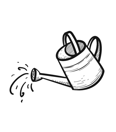 Watering can sketch icon vector illustration 向量圖像
