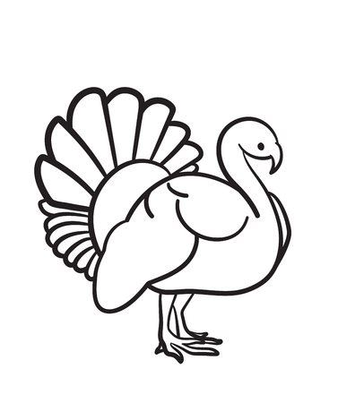 Thanksgiving day turkey sketch doodle icon for web, mobile and infographics. Hand drawn turkey vector icon isolated on white background.