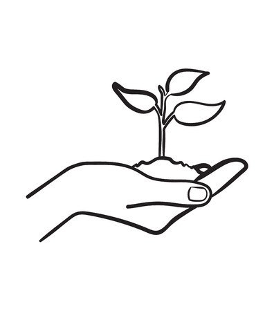 Human hand holding handful of soil with young sprout sketch icon vector illustration 일러스트