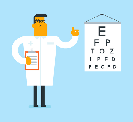 Caucasian ophthalmologist doctor in glasses pointing finger up on the eye chart vector illustration