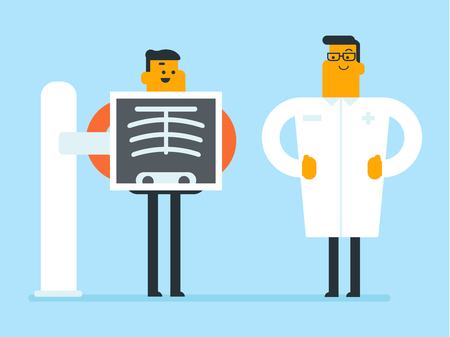 Young doctor standing nearby the patient undergoing chest X-ray procedure vector illustration Illustration