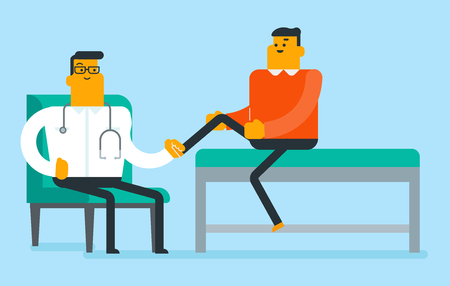Caucasian physiotherapist doctor checking the ankle of a patient vector illustration