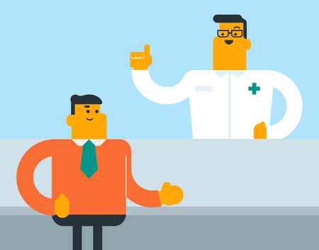 Caucasian white pharmacist standing behind the counter and suggesting drug to buyer in the drugstore. Professional pharmacist selling medications to client. Vector cartoon illustration. Square layout.