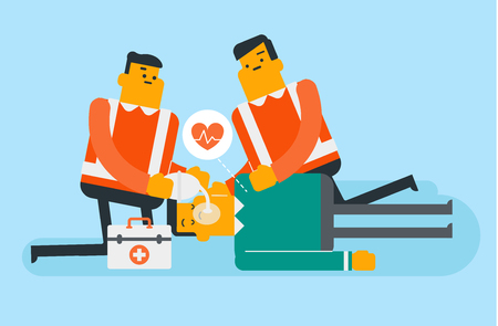 Caucasian white paramedics doing cardiopulmonary resuscitation of a man. Team of emergency doctors during process of resuscitation of unconscious person. Vector cartoon illustration. Horizontal layout