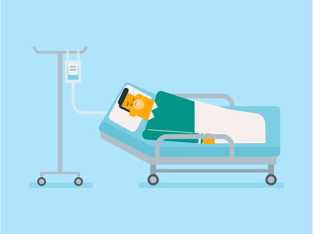 Man lying in hospital bed with an oxygen mask and a drop counter vector illustration Illustration