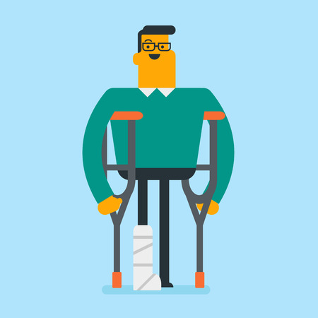 Injured caucasian white man with broken leg in gypsum using crutches. Young man with fractured leg standing with crutches. Vector cartoon illustration. Square layout.