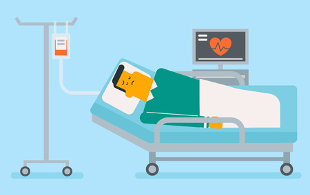 Caucasian white man in coma lying in bed with a heart rate monitor in the hospital. Patient during blood transfusion procedure. Health care concept. Vector cartoon illustration. Horizontal layout.