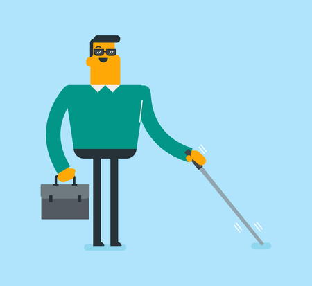 Caucasian white blind businessman with a briefcase standing with a walking stick. Young blind man in dark glasses walking with a cane. Disability concept. Vector cartoon illustration. Square layout.