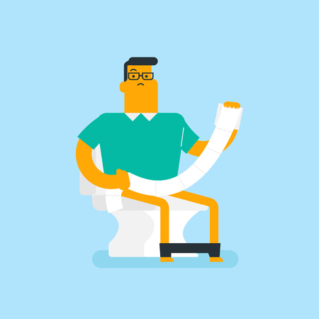 Caucasian white man sitting on the toilet bowl and suffering from constipation. Man holding toilet paper roll and suffering from diarrhea. Vector cartoon illustration. Square layout.